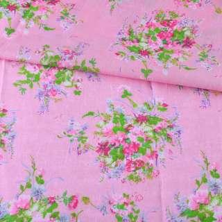 Батист розовый в розово-сиреневые букеты, ш.140 оптом