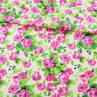 Батист кремовый в розово-малиновые розы, зеленые листья, ш.140 оптом