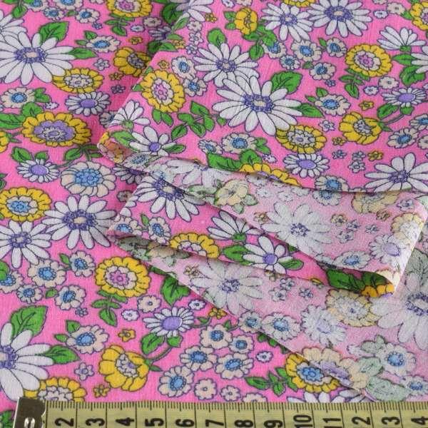 Батист розовый в бело-сиреневые и желтые цветы, ш.140 оптом