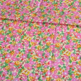 Батист кремовый в розовые, оранжевые цветы, зеленые листья, ш.140 оптом