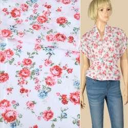 Батист белый в красные, голубые розы, ш.140