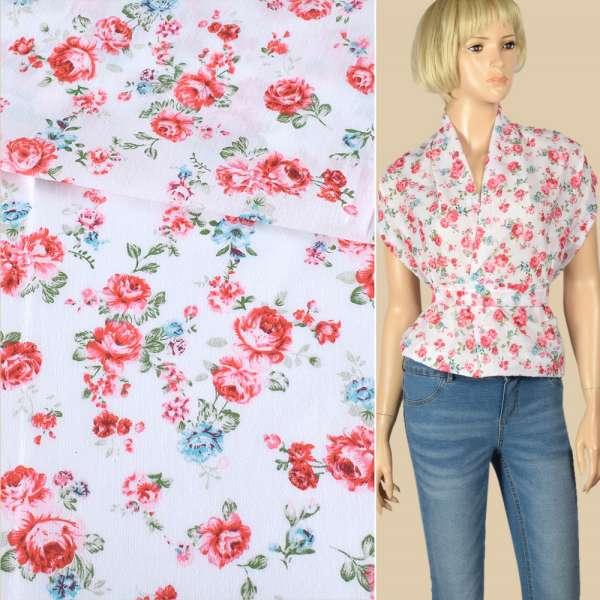 Батист белый в красные, голубые розы, ш.140 оптом