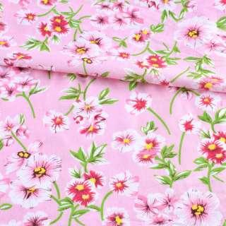 Батист розовый в бело-розовые цветы, зеленые ветки, ш.140 оптом