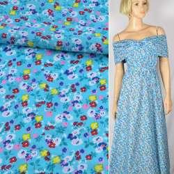 Батист голубой в мелкие белые, желтые, розовые цветы, ш.140