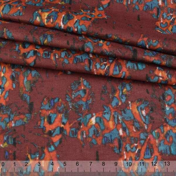 Батист бордовый в оранжево-бирюзовые пятна ш.140 оптом