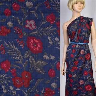 Батист синий в бордово-бежевые цветы ш.146 оптом