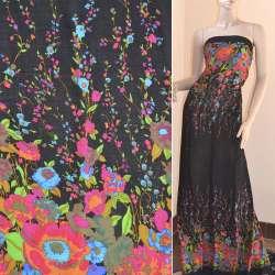 Батист черный,двухсторонний купон малиново-синие цветы ш.140 оптом
