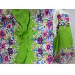 Батист зеленый,двухсторонний купон цветы ш.140 оптом