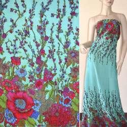 Батист зеленый светлый с двухсторонним бордово-синим купоном цветы ш.140 оптом