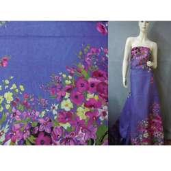 Батист фиолетовый светлый, двухсторонний купон молочно-бордовые цветы ш.140 оптом