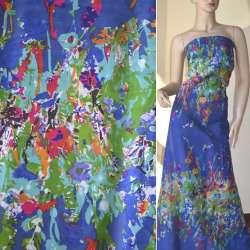 Батист синий светлый, двухсторонний купон бирюзово-зеленые цветы ш.140 оптом