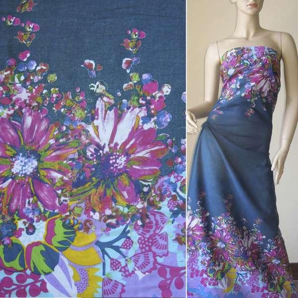 Батист синий, двухсторонний купон большие малиновые голубые цветыш.140 оптом