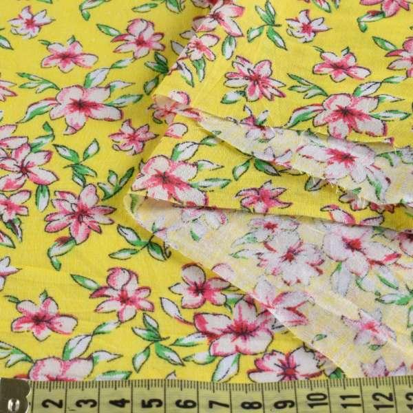Батист желтый в бело-розовые цветы, ш.140 оптом
