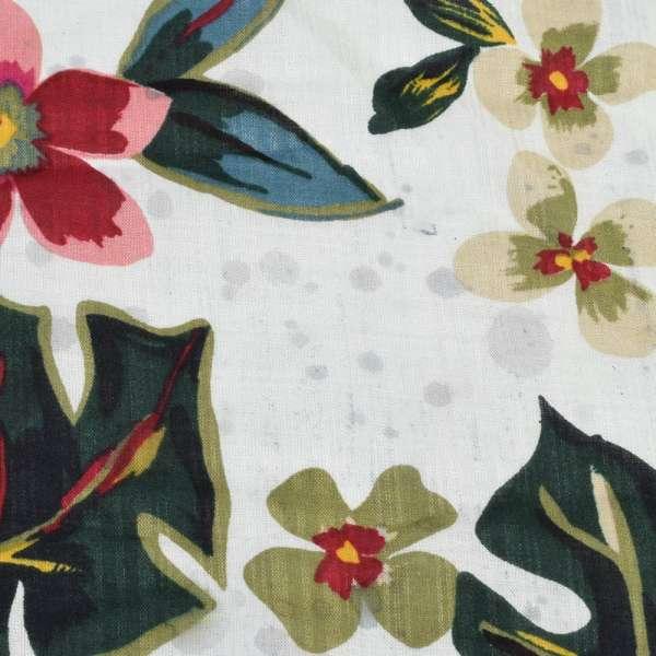 Батист белый в крупные розово-желтые цветы, зеленые листья (2сорт), ш.145 оптом