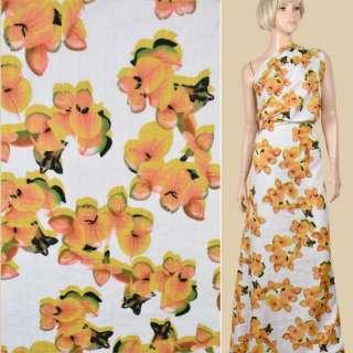 Батист белый, крупные желтые цветы, ш.140 оптом