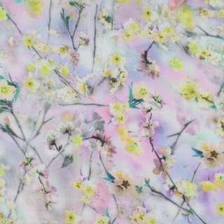 Батист стрейч сиреневый в салатово-желтые цветы ш.136 оптом