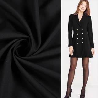 Ткань костюмная бистрейч черная ш.150 оптом