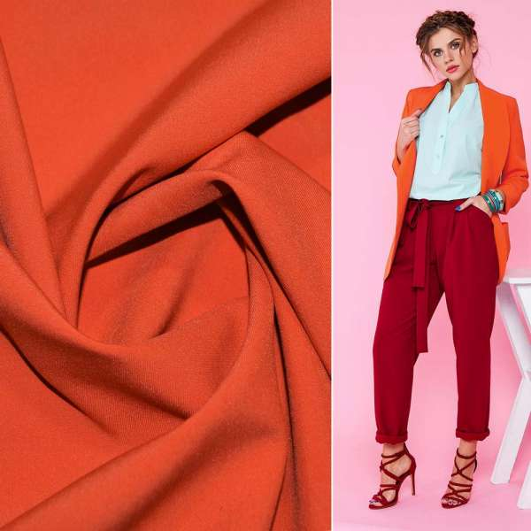 Ткань костюмная бистрейч оранжево-терракотовая ш.150 оптом