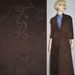 Микровельвет темно-коричневый, вышитый шелковой нитью, ш.145