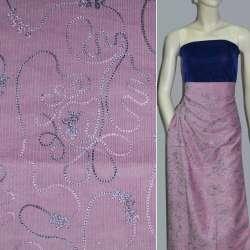 Микровельвет розовый с вышивкой ш.140 оптом