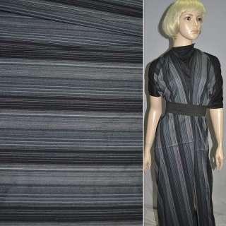 Ткань костюмная стрейч черно-синяя в полоску оптом