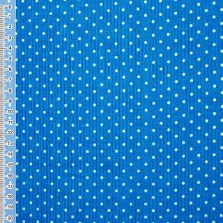 Мікровельвет синьо-блакитний в білий горошок ш.110 оптом