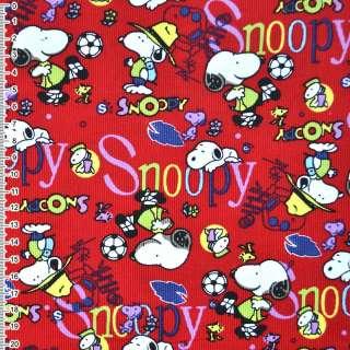 """м/вельвет красный """"Snoopy"""" ш.110 см. оптом"""