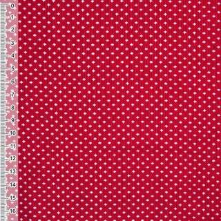 М/вельвет красный с белыми птичками ш.110 оптом