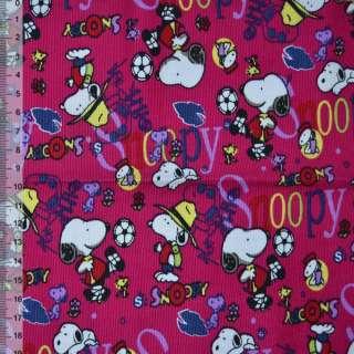 """м/вельвет малиновый """"Snoopy"""" ш.110 см. оптом"""