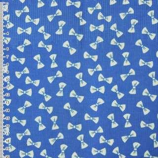 Микровельвет синий светлый с белыми бантиками ш.112 оптом