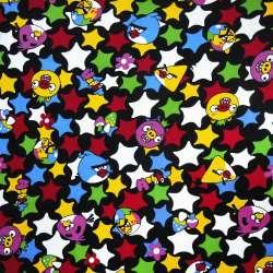 Микровельвет черный Аngry Birds и звезды ш.105 оптом