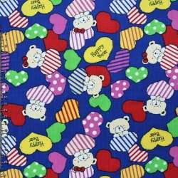 Микровельвет синий (ультра) c cердцами и мишками Happy Bear ш.112 оптом