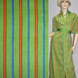 Микровельвет зеленый в оранжевую и синюю полоску, ш.112 оптом