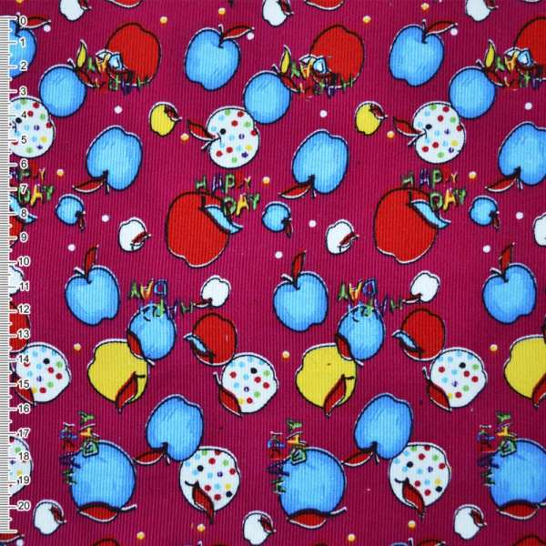 Микровельвет малиновый с разноцветными яблоками Happy day оптом