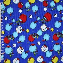 Микровельвет синий с разноцветными яблоками Happy day ш.110 оптом