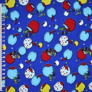 """М / вельвет синій з різнобарв'я. яблуками """"Happy day"""" ш.1 оптом"""