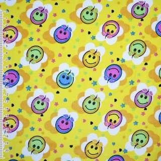 """М/вельвет желтый в разноцветные """"яблочки""""ш.110 см. оптом"""