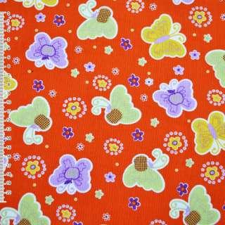 м/вельвет оранжевый с разноцвет.бабочками ш.110 оптом