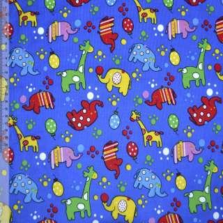Микровельвет синий (ультра) с жирафами и слониками ш.110 оптом