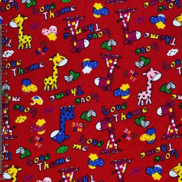 Микровельвет красный c жирафами Love Theme ш.112 оптом