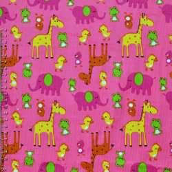 Микровельвет розовый с желтыми жирафами и утятами ш.110 оптом
