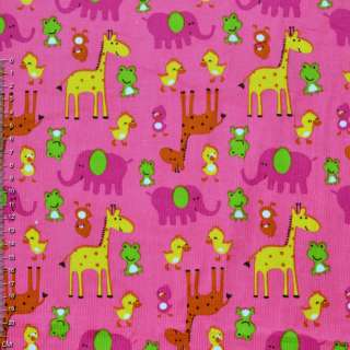 Мікровельвет рожевий з жовтими жирафами і каченятами ш.110 оптом
