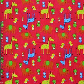 Мікровельвет яскраво-червоний з жовтими жирафами і каченятами ш.112 оптом
