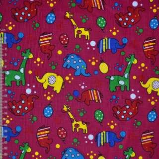 Мікровельвет малиновий з жирафами і слониками ш.112 оптом