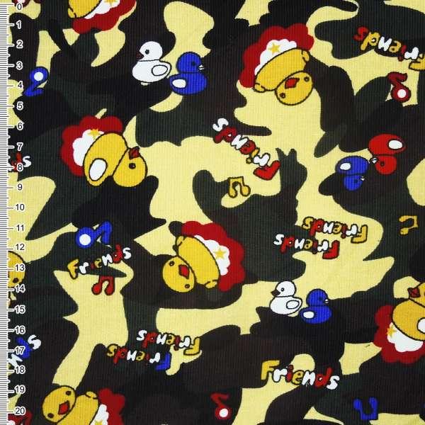Микровельвет желтый светлый камуфляж с утятами Friends ш.112 оптом