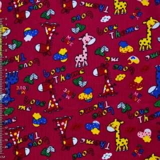 Микровельвет малиновый с жирафами Love Theme ш.110 оптом