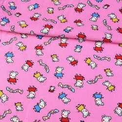 Микровельвет розовый, свинка Пеппа ш.110 оптом