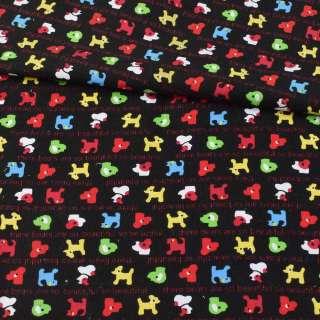 Мікровельвет чорний, різнокольорові собачки, ш.115 оптом