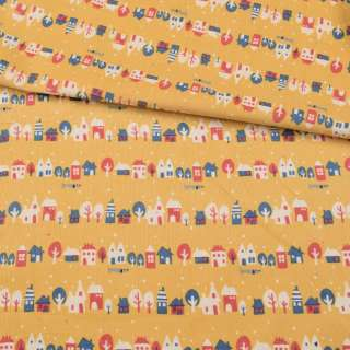 Мікровельвет жовтий, різнокольорові будиночки, дерева, ш.108 оптом