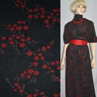 Мікровельвет чорний з червоними квітами, ш.110 оптом